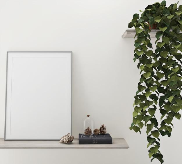 벽에 식물 근처의 프레임 사진