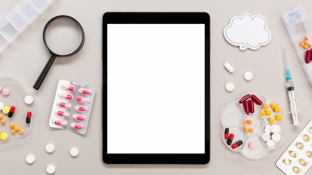 Frame of pills with tablet
