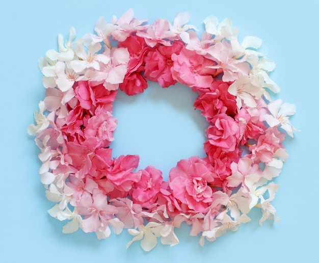 Frame of pink flowers over a light blue background top view