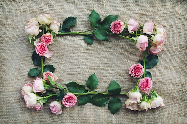 Frame of pink roses on burlap
