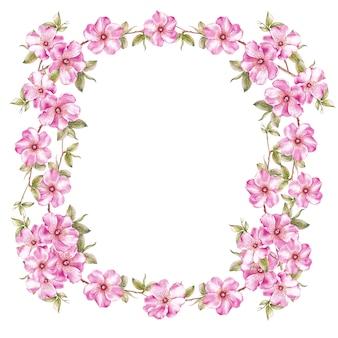 Frame of pink sakura flowers.