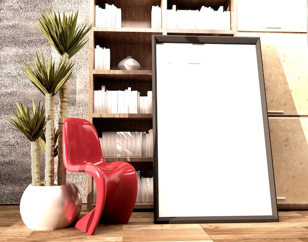 Frame and plastic red chair and lamp in wooden floor on empty white wall background.