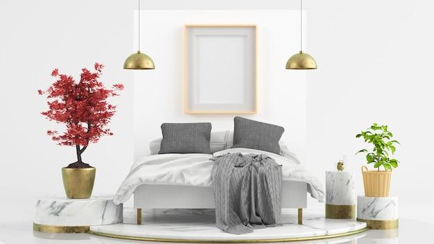 초현실적 인 침실 3d 렌더링 장면에 모의 프레임 포스터