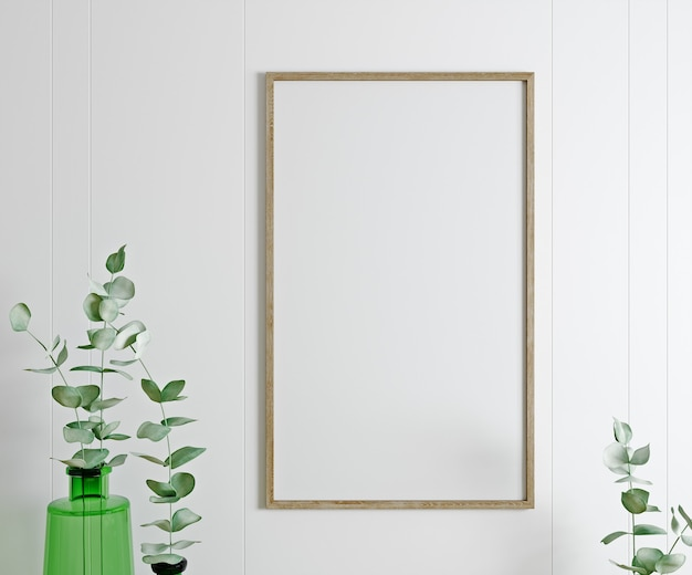 Frame, poster mock up in white living room with plants. scandinavian interior, 3d rendering.