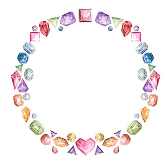 Frame of precious multi-colored stones and crystals