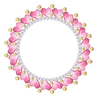 Frame of precious multi-colored stones