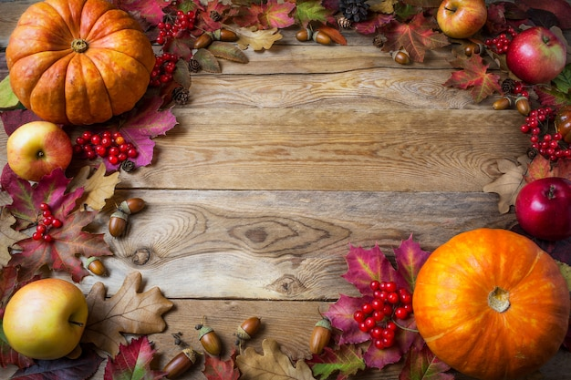 Frame of pumpkins, apples, acorns, berries and fall leaves on wooden background