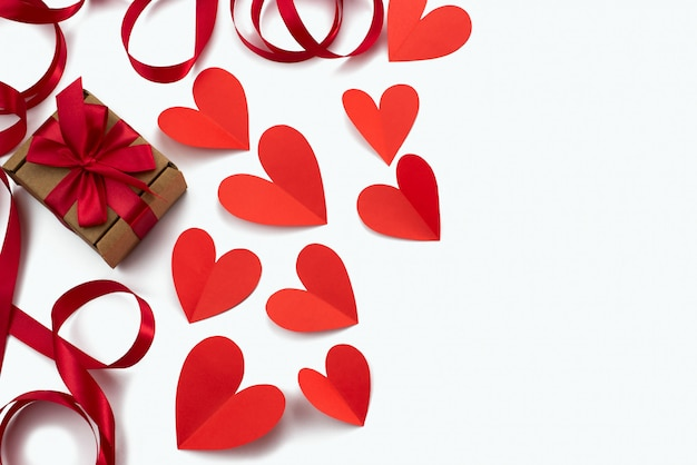 Frame of red ribbon heart white background