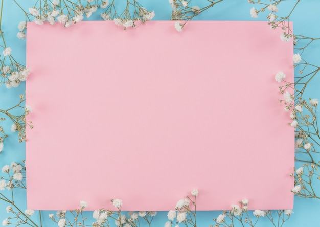 Frame sheet of paper with flowers