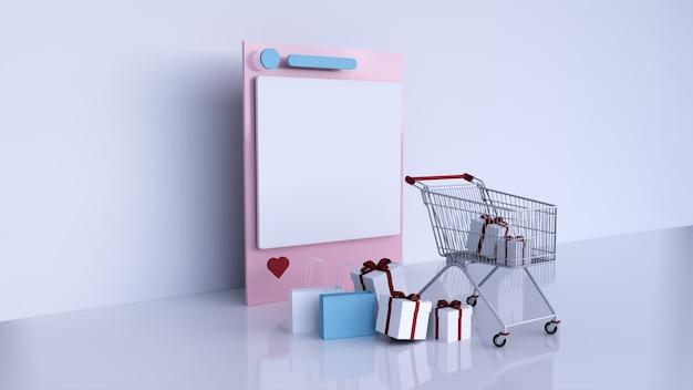 Рамка в социальных сетях instagram и корзина с подарочной коробкой и сумкой для покупок, 3d-рендеринг