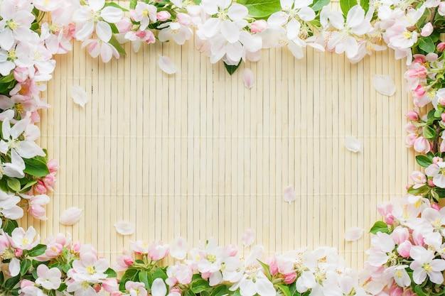 Frame of spring flowers of sakura on bamboo