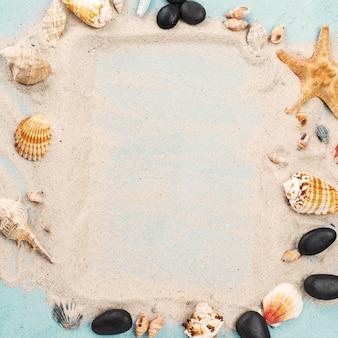 Frame of starfish and shells