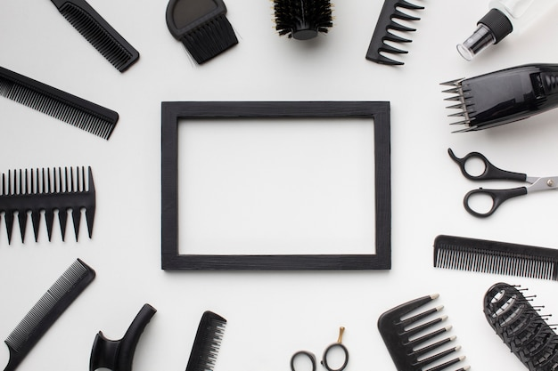Frame surrounded by hair accessories
