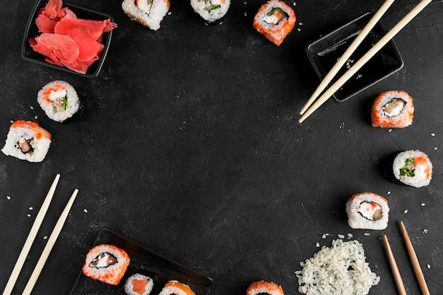 Frame of sushi rolls