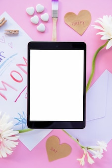 Frame tablet for mother`s day celebration