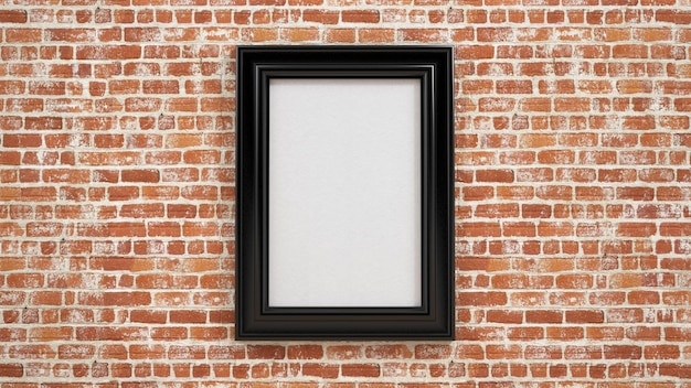 Frame template on the red brick wall in room / 3d render image