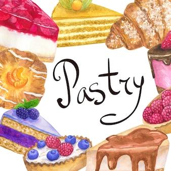 Шаблон кадра с вкусными десертами для кондитерской. ручной обращается акварель иллюстрации. изолированный на белой стене.