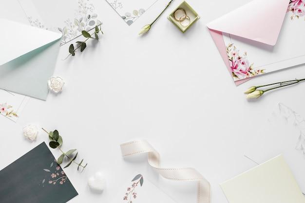 Frame of wedding invitations