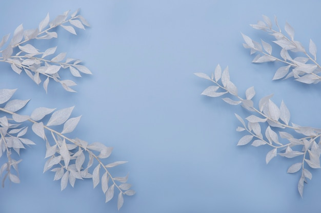 Frame of white branches with leaves on a blue table