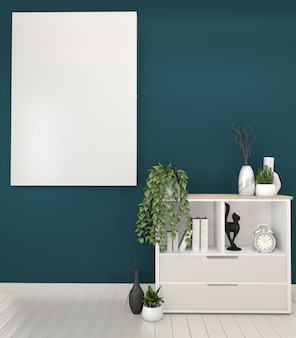 Frame and white cabinets tv in a dark green room and decoration.3d rendering
