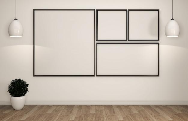 Frame on white wall room zen style.3d rendering