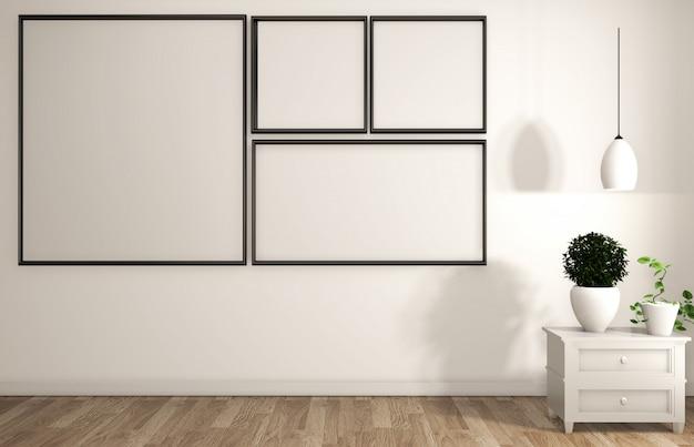 Frame on white wall room zen style.
