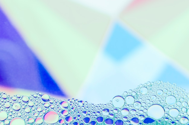Frame with abstract blue shades bubbles