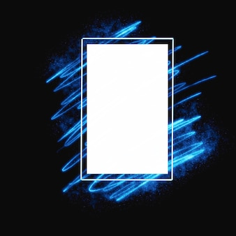 Frame with blue glowing  hand draw light