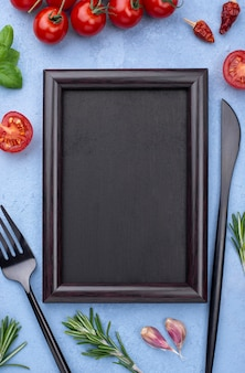 Frame with cooking ingredients