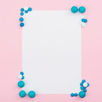 Frame with cornes of blue candies