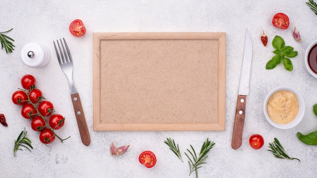Frame with cutlery