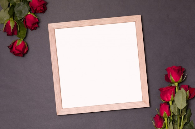 Frame with empty space for text -valentines day mock up with red rose.