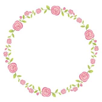 ピンクのバラの花の水彩イラストのフレーム