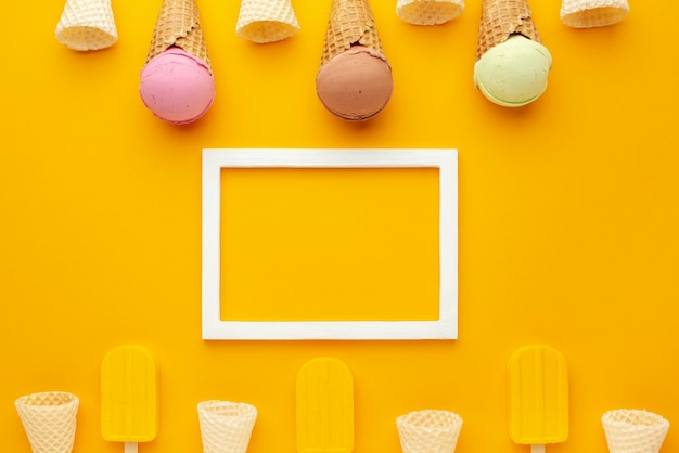 Frame with ice cream on cones and stick
