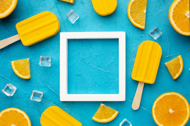 Frame with ice cream with orange flavour
