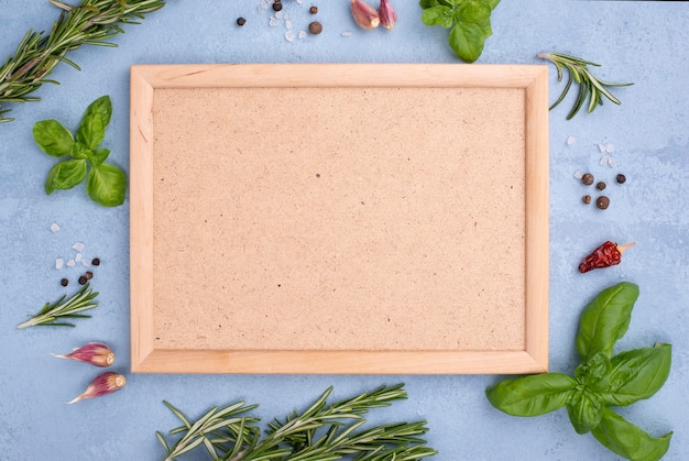 Frame with ingredients beside