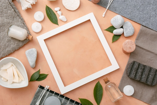Frame with natural cosmestics beside