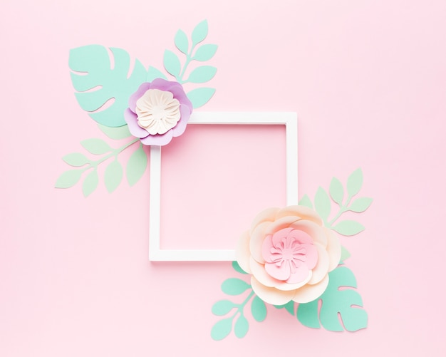 Frame with paper leaves decoration