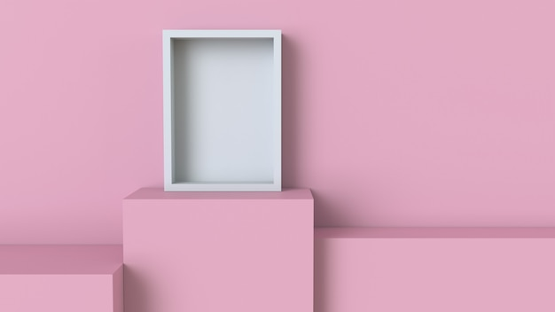 Frame with pastel pink cube podium on blank wall background
