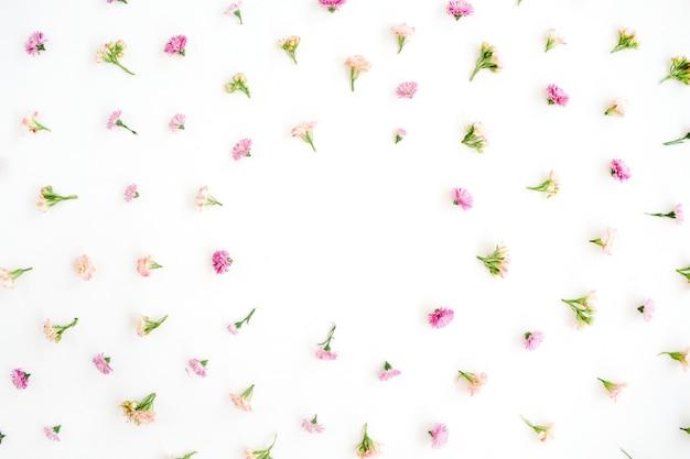 ピンクとベージュのワイルドフラワーのつぼみのデザインのフレーム