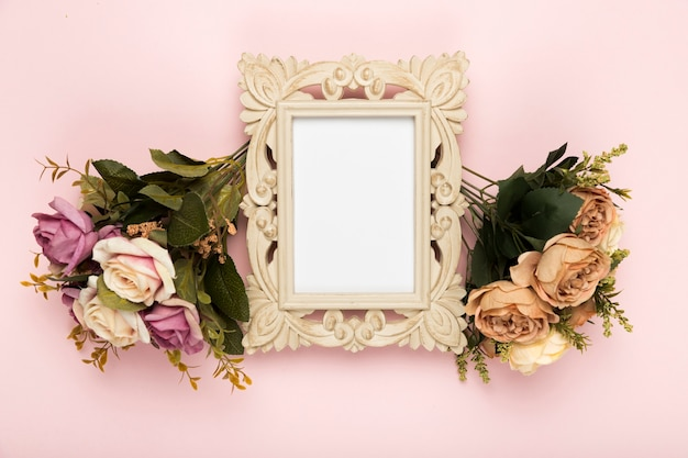 Frame with roses beside