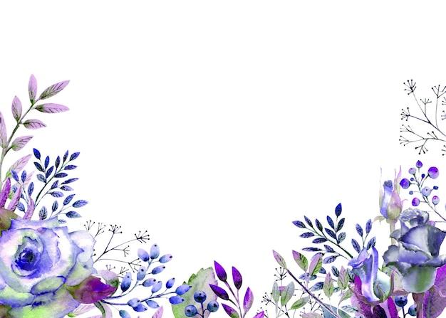 Рамка с розами, листьями, ягодами, декоративными веточками. концепция свадьбы с цветами. акварельная композиция в голубых тонах для поздравительных открыток или приглашений.