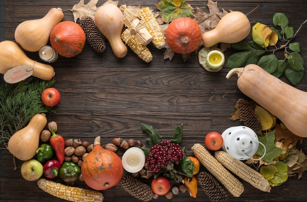 Frame with seasonal ingredients in thanksgiving day.