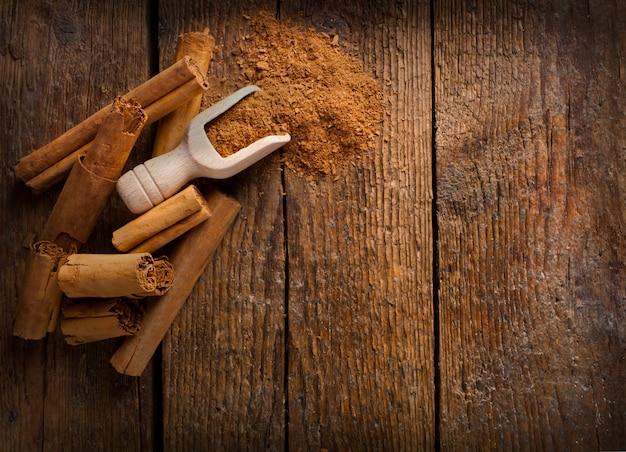 Frame with sticks and ground ceylon cinnamon