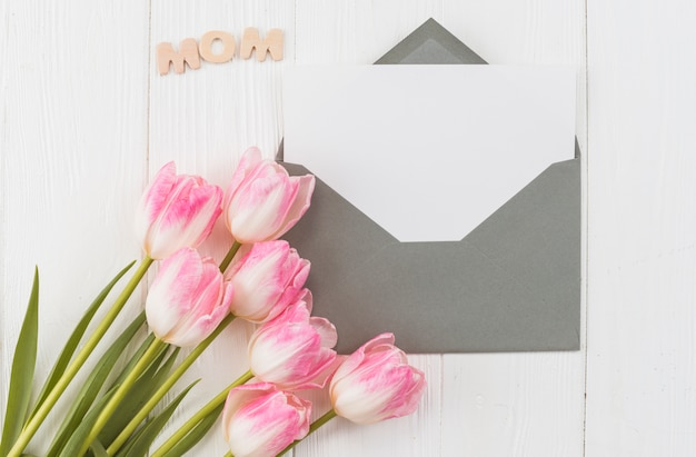 Frame with tulips for mother`s day