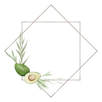 Рамка с акварельным авокадо