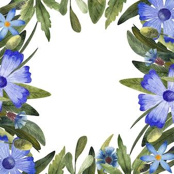Рамка с акварельными голубыми ромашками, васильком и листьями, изолированными на белом фоне. рамка с полевыми цветами отлично подойдет для поздравительных открыток, приглашений.