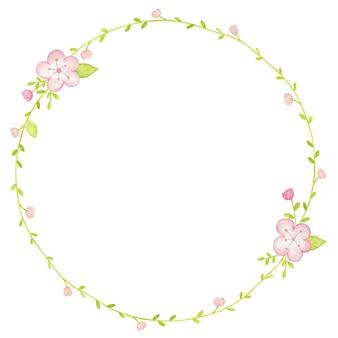 花の水彩イラストとフレーム