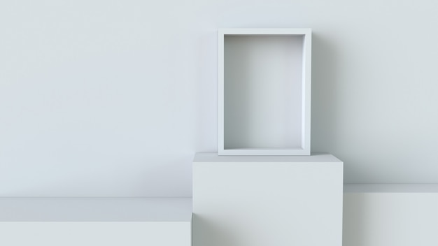 Frame with white cube podium on blank wall background