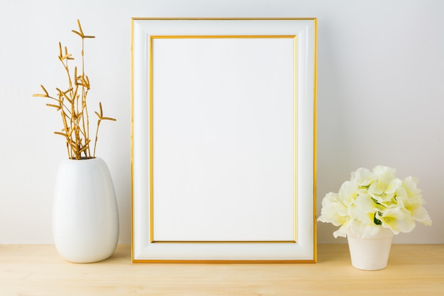 Frame  with white flowerpot